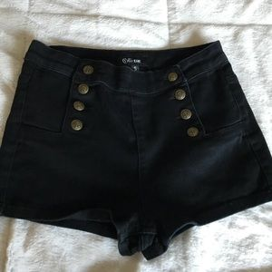 Pants - Black High-waisted Shorts with Button details